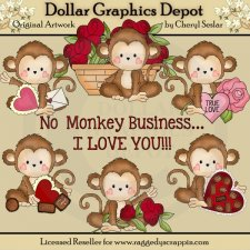 Monkey Business - Valentine's Day - Clip Art
