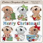 Scruffy Puppy - Christmas - Clip Art