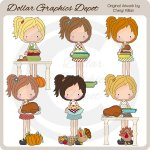 Cute Katie Loves Thanksgiving - Clip Art