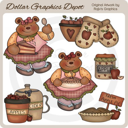 Apple Pie Bear - Clip Art