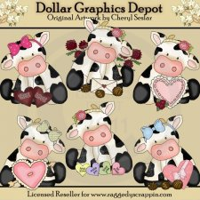 Cute Little Valentine Cows - Clip Art