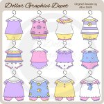 Baby Girl Outfits 1 - Clip Art - *DGD Exclusive*