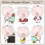 School Piggies - Clip Art