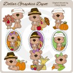 Baby Bears - Thanksgiving - Clip Art