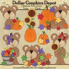 Autumn Bears 1 - Clip Art