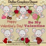 Pinky Mouse - Be My Valentine - Clip Art