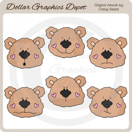 Bear Face Emotions - Clip Art