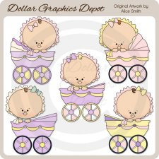 Baby Carriage Girls - Clip Art