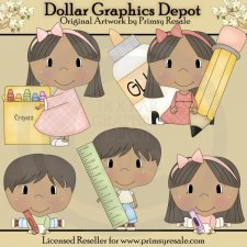 Back to School Kids 2 - Clip Art