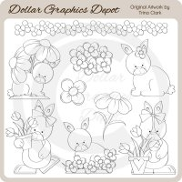 Garden Bunnies 1 - Digital Stamps