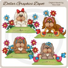 Summer Puppies - Clip Art