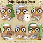 Winter Wishes Owls - Clip Art