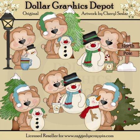 cutie bear winter wonderland clip art dollar. Black Bedroom Furniture Sets. Home Design Ideas