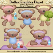 Fitness Bears - Clip Art - *DGD Exclusive*