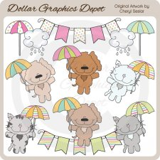 Raining Cats and Dogs - Clip Art