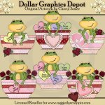 Froggy Valentine Bowls - Clip Art