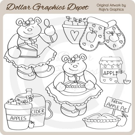 Apple Pie Bear - Digital Stamps