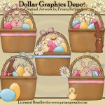 Pretty Easter Baskets - Clip Art