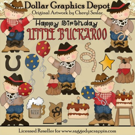 Cowboy Birthday - Clip Art