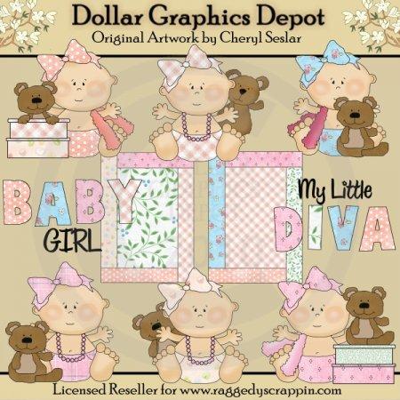 Cute Diva Babies Clip Art 1 00 Dollar Graphics