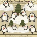 Winter Penguins 2 - Clip Art