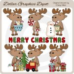 Merry Christmas Moose 1 - Clip Art