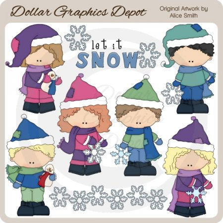 Snowflake Kids - Clip Art - *DGD Exclusive*