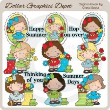 Dumplin Girls - Frogs and Flowers - Clip Art
