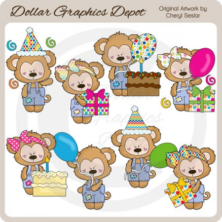 Birthday Monkeys - Clip Art