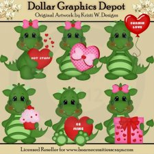 Valentine Dragons 1 - Clip Art - *DGD Exclusive*
