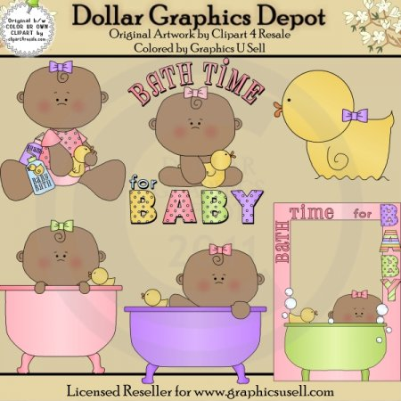 Bath Time for Baby Girl 2 - Clip Art