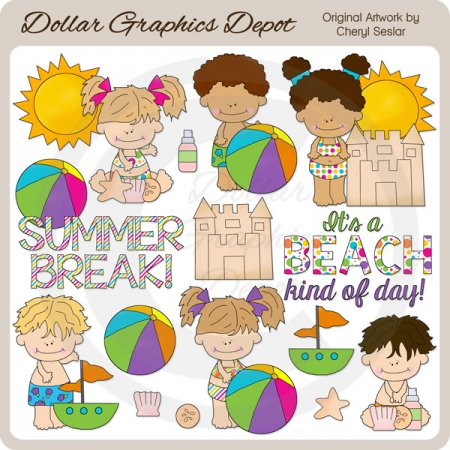 Summer Break Kids - Clip Art