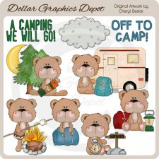 BoBo Bear Goes Camping - Clip Art
