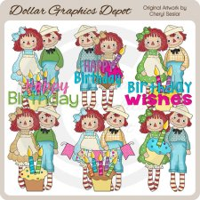 Raggedies - Birthday Wishes - Clip Art