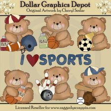 Boo Bears Love Sports - Clip Art