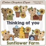 Coco Bears - Sunflower Farm - Clip Art - *DGD Exclusive*