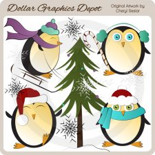 Wintery Penguins - Clip Art