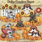 Puppies In Fall - Clip Art