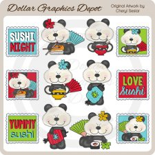 Little Panda Loves Sushi - Clip Art