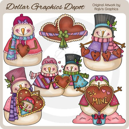 Valentine Snow Couple - Clip Art