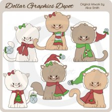 Christmas Kittens - Clip Art - *DCS Exclusive*