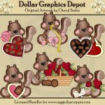 Little Squirrels - Valentine's Day - Clip Art