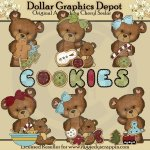 Cloey Bear's Christmas Cookies - Clip Art