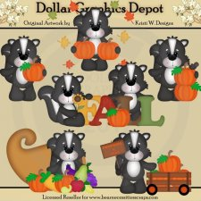 Fall Skunks - Clip Art - *DGD Exclusive*