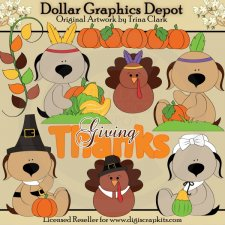 Thankful Doggies 1 - Clip Art
