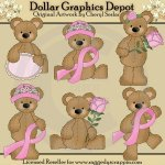 Stuffed Bears - Breast Cancer - Clip Art