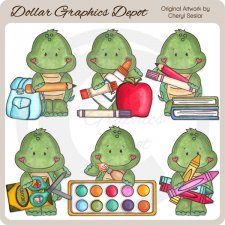 Tiny Tortoise Goes To School - Clip Art