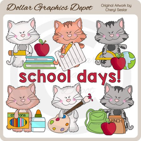 Scruffy Cat - School Days - Clip Art