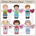 Cute Valentine Kids - Clip Art