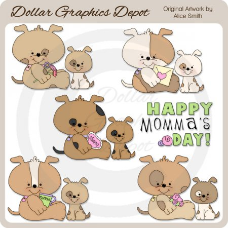 Momma's Day Pups - Clip Art - *DGD Exclusive*